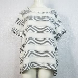 St Tropez 100% Linen Striped Short Sleeve sz Large